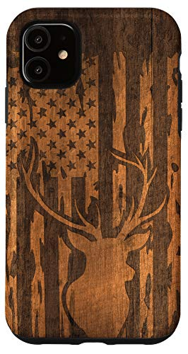 iPhone 11 Deer Buck with Flag on Wood-like Background Case