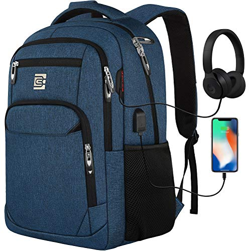 Laptop Backpack with USB Charging&Headphone Port,Anti-Theft Business Laptop Backpack with Breathable Padded Shoulder Strap, Water Resistant Computer Rucksack for School/Work/Travel (15.6 Inch, Blue)