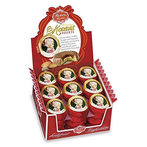 Reber Constanze Mozart-Pastete, Alpenmilch-Schokolade, Honig-Sahne-Trüffel, Nougat, Pistazienmarzipan, 9 Stück