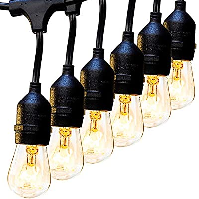 2 Pack 48 FT Outdoor String Lights Commercial Grade Weatherproof Strand 16 Edison Vintage Bulbs 15 Hanging Sockets, UL Listed Heavy-Duty Decorative Café Patio Lights for Bistro Garden