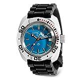 VOSTOK | Scuba Dude Amphibian Automatic Self-Winding Russian Military Diver Wrist Watch | WR 200 m | Fashion | Business | Casual Men's Watches | Model 710059 Black Resin Band B