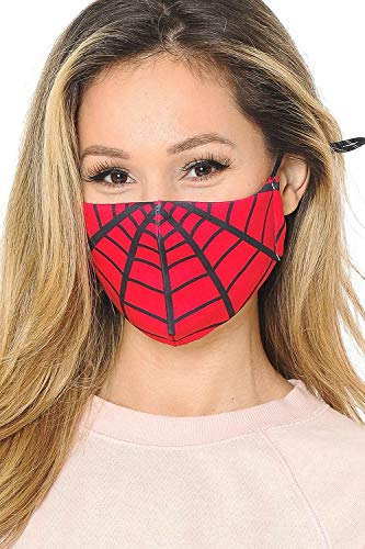 Superhero Web Graphic Print Face Mask with Filter Pocket high Fashion by: CRAIGS Internet Sales Red