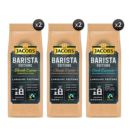 Jacobs Coffee Beans Barista Editions Ultimate Diversity Package, 6-Pack (6X 210g Bean Coffee)