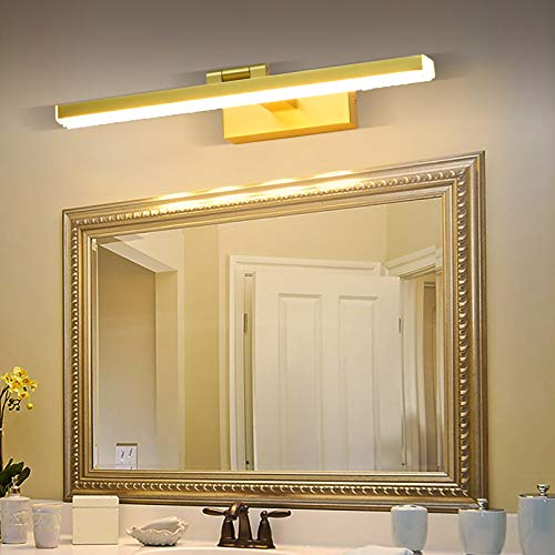 Wowatt Lámpara Espejo Baño LED 220V 9W Aplique Espejo Baño 720LM Blanca Cálida 3000K 40cm Luz de Espejo Orientable Para Mueble de Maquillaje Armario Lavabo Estudio Restaurante Dormitorio Hotel