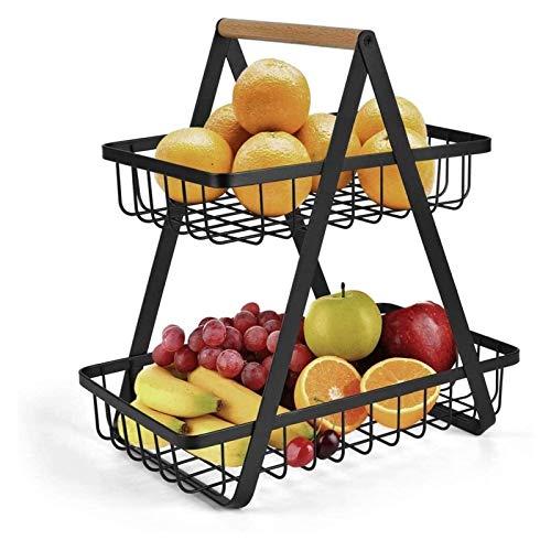 LCB 2 Tier Fruit Bowl Fruit Basket Storage Vegetable Rack Bread Display Stand Countertop Metal Fruit Basket Rack for Kitchen