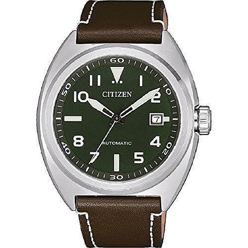 CITIZEN Herren Analog Automatik Uhr mit Leder Armband NJ0100-38X