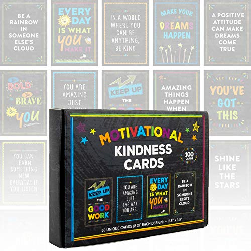 Motivational Cards: 100 Inspirational, Kindness, Motivational and Quote Cards. Business Card Size - 2.5x3.5 inches (Pack of 100)