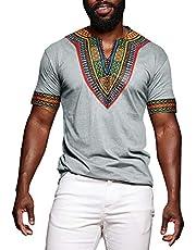قميص كاجوال رجالي بأكمام قصيرة ونقش داشيكي الأفريقي المطبوع، ياقة على شكل حرف V وجزء علوي مطبوع بالأزهار