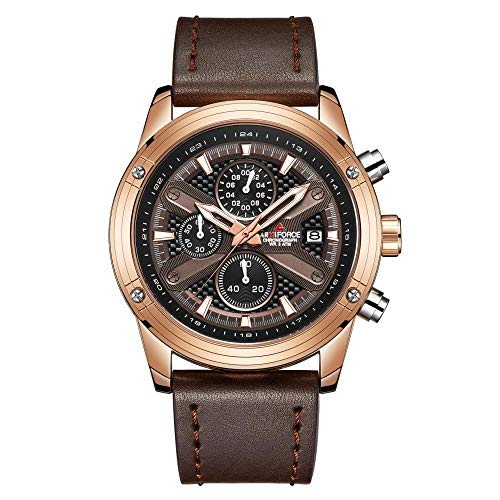 Armbanduhr,Business wasserdichte 6-Pin-Uhr, Rose-Shell-Kaffee