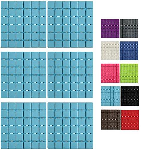 MSV Premium Duschmatte Badematte Badewanneneinlage Anti Rutsch Pads - 6 Stück - antibakteriell rutschfest mit Saugnäpfen - Hellblau - ca. 13 x 13 cm - duftet nach Rosen - waschbar bei 60° Grad