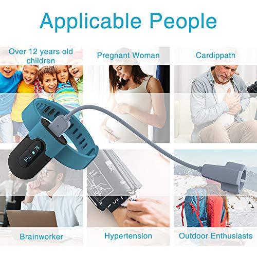 Sauerstoffsättigungs-Monitor, am Handgelenk tragbarer Sauerstoffmonitor, Überwachung des Sauerstoffpegels im Schlaf mit Vibrations-Feedback, Bluetooth Herzfrequenz Monitor - 7