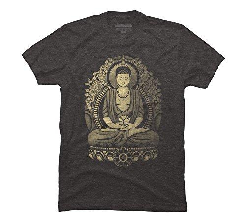 Design By Humans Gautama Buddha Weathered Halftone Mens Charcoal Heather Gray Graphic Tee L