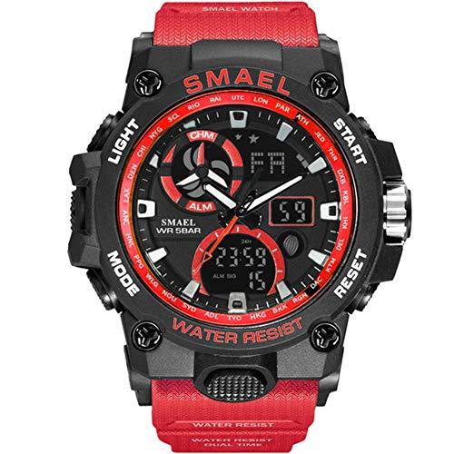 SMAELBand Reloj del Deporte de los Hombres de Juguete Ejército Militar Relojes de los Hombres De Pulsera Impermeable S de Choque 50m La Moda de los Hombres Relojes Deportivos 8011,Rojo