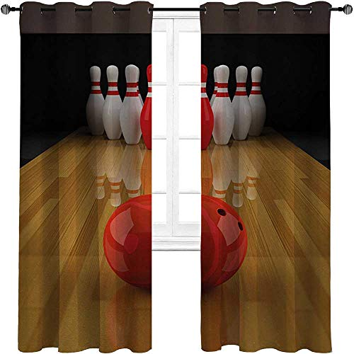 """HouseLookHome Blackout Curtain Bowling Party Soundproof Window Curtain Panels Alley with Red Skittle in Center Target Score Winning Competition 2 Grommet Top Curtain Panels,42"""" W x 54"""" L"""
