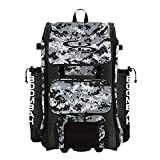 Boombah Rolling Catchers Superpack Baseball/Softball Gear Bag - 23-1/2' x 13-1/2' x 9-1/2' - Digital Camo Black/Gray - Telescopic Handle and Holds 4 Bats - Wheeled Version