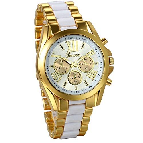 JewelryWe Herren Armbanduhr, Analog Quarz, Business Casual Edelstahl Armband Uhr mit Römischen Ziffern Zifferblatt, Gold Weiss