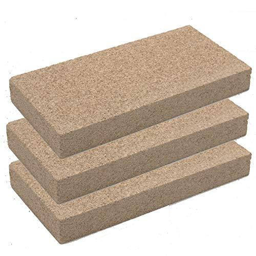 Vermiculit-Platte Vermiculite Schamottstein Schamotte Ersatz, 25x12,5x3 cm 3 Platten
