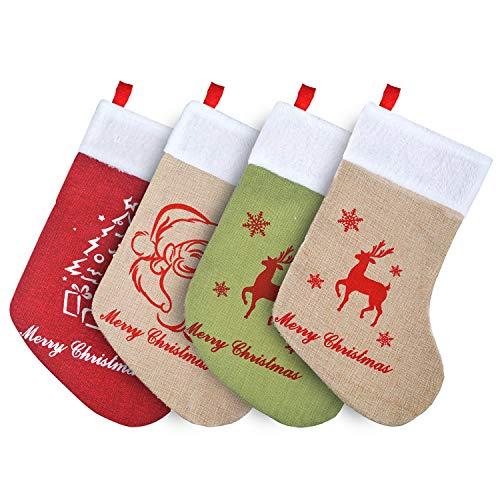 GL-Turelifes - Set di 4 calze natalizie in tela di canapa, 40 cm, per decorare il camino di Natale, con Babbo Natale, renna, albero e personaggi
