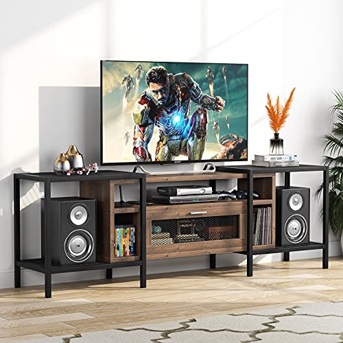 Tribesigns 75 Inch TV Stand for TVs Up to 85 inch, Media Console Table Entertainment Center with Storage for Living Room, Industrial Walnet
