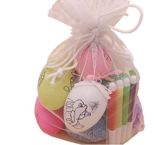 BOSSTER Decoraciones de Huevos de Pascua 10 Piezas Huevos de Plástico con Cintas Patrón Diferente con 4 Pluma de la Acuarela en Bolsa de Almacenamiento para La Decoración y El Regalo DIY