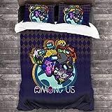 QWAS Bajo nosotros, funda nórdica divertida, aventura, juego de cama, juego de cama para aficionados, regalo favorito, juego de 3 piezas (A1, 140 x 210 cm + 50 x 75 cm x 2)