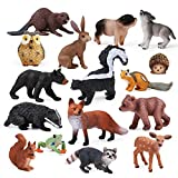 16pcs Forest Animals Baby Figures, Woodland Creatures Figurines, Miniature Toys Cake Toppers Cupcake Toppers Birthday Gift for Kids