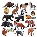 16pcs Forest Animals Baby Figures, Woodland...