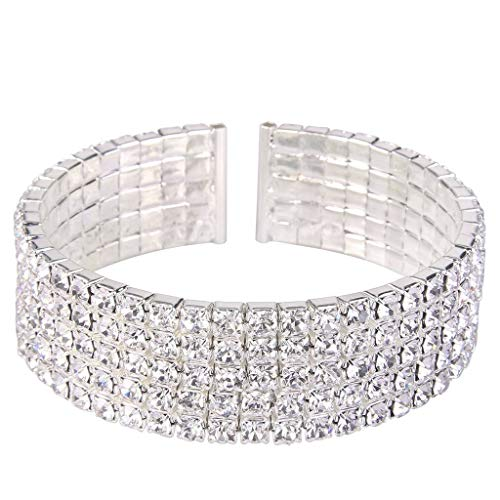 Clearine Women's Wedding Bridal Disco Ball Inspired Crystal Open End Stretch Bracelet Clear Silver-Tone