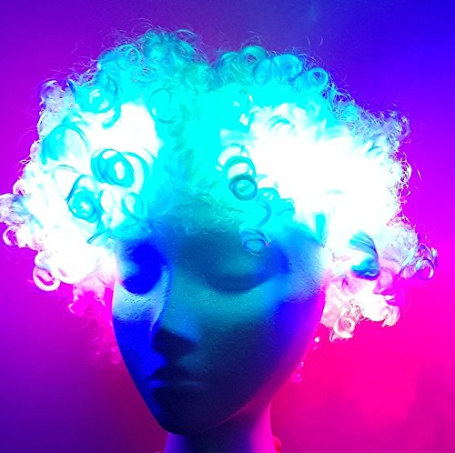 Unbekannt LED Leucht Perücke Disco Afro Weiss mit 3 Leuchten LED-Perücke Light Up Wig