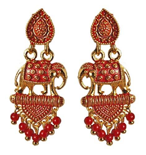 Pahal Ethnische Rot Perle Klein Sud Indische Gold Ton Jhumka Ohrringe Set Jhumki Bollywood Stil...