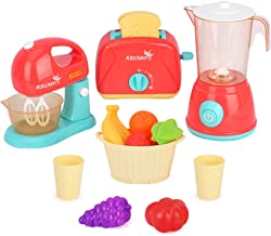 LBLA Juguetes de Electrodomésticos de Cocina, Juego de Roles de Cocina, Juguetes de Cocina Accesorios para Niños electrodoméstico con Licuadora Tostadora,Frutas