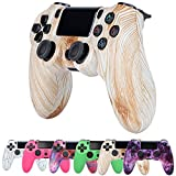 ZQYR PS4 Controller Wireless, 600mAh Wireless Controller for PS4/Pro/Slim, Game Controller with Dual Vibration Game Joystick Headset Jack,Wood Texture