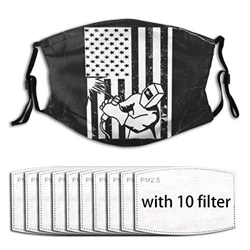 Soldador de bandera americana, cubierta bucal antipolvo, bufanda para la cara, bandanas, polaina para el cuello con filtro, lavable y reutilizable