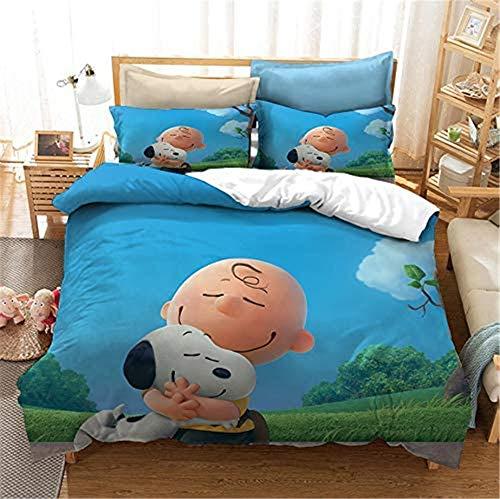 Snoopy - Funda de edredón para fans de Otaku y anime, 3D, 100% poliéster, suave y cómoda, ropa de cama para fans del anime, el mejor regalo de cumpleaños (A12,260 x 230 cm + 50 x 75 cm x2)