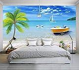 Tapete 3D Mittelmeer Kokospalme Schwan Segeln Moderne Wohnzimmer Schlafzimmer Großes Wandbild Wanddekoration-250cmx175cm Fototapete - Vlies - Wandsticker - Plakatdekoration