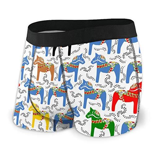 MRRUI Mens Ultra zacht ondergoed Boxer korte gedekte tailleband Dala paarden