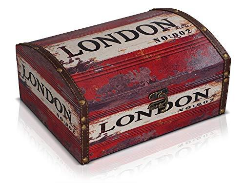 Brynnberg Caja de Madera 28x22x13cm - Cofre del Tesoro Pirata de Estilo Vintage - Hecha a Mano - Diseño Retro - joyero