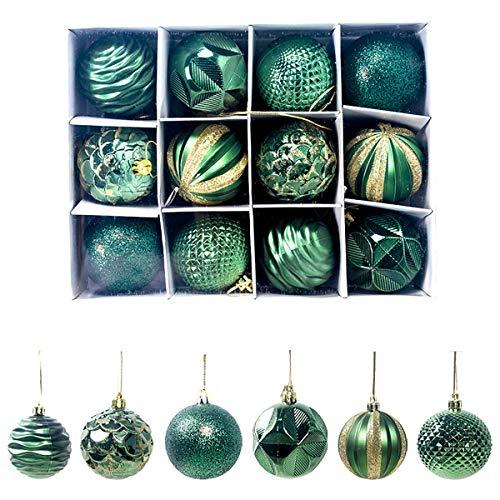 Weihnachtskugeln,Koqit 12 TLG. 6cm Reusable Christbaumkugeln Weihnachtsbaumschmuck Bruchsicher Plastik Ornament mit Anhänger für Party Weihnachtsdeko Elfen Thema Grün