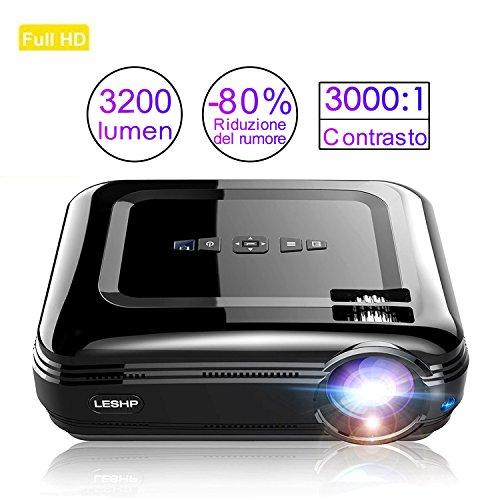 Proiettore LCD da 3200 Lumen e Contrasto 3000:1,Proiettore Portatile HD con HDMI, VGA, USB x 2, SD, AV e Interfaccia Cuffie, incluso HDMI e cavo AV