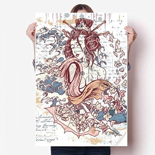 DIYthinker Geisha Kimono Fan Japon Waves Vinyle Autocollant de Mur Poster Mural Wallpaper Chambre Decal 80X55Cm 80Cm X 55Cm Multicolor