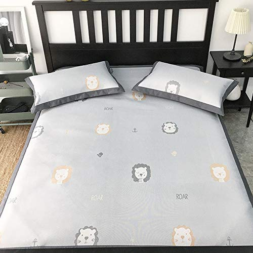 DS- Bamboo Mattress Carbonized bamboo sleeping mat,Summer household washable folding cartoon jacquard ice charcoal mat (6 models) && (Color : C, Size : 1.8X2M)