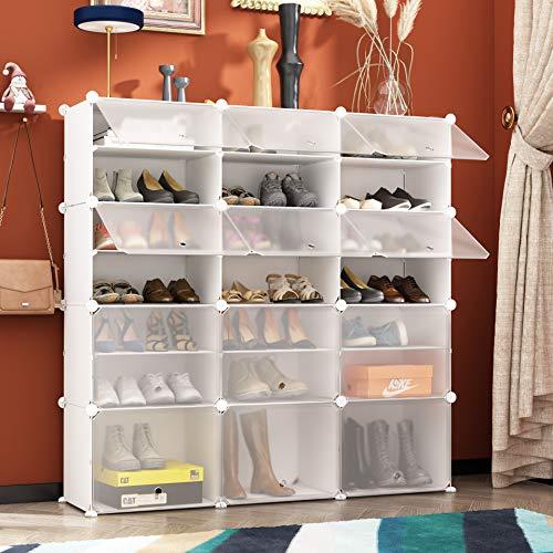HOMEYFINE Zapatero, Cubos de Armario modulares para Ahorrar Espacio, Sostén de Almacenamiento portátil de Zapatos, Cajas de Almacenamiento de Zapatos y Zapatillas, Blanco(3/7)