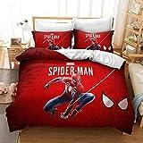 Goplnma - Juego de ropa de cama, diseño de Spiderman de los Vengadores de Marvel, impresión 3D, con funda de almohada, para niños y adultos, para cama individual y doble (220 x 240 cm, 1)