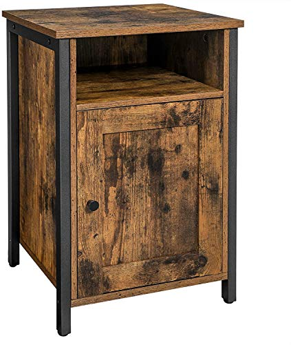 Side Table, with Drawers, end Table, lockers, shutters, bedrooms, Living Room, a Metal Frame, Industrial-Style,Brown