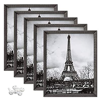 upsimples 8x10 Picture Frames with High Definition Glass,Rustic Photo Frames for Wall or Tabletop Display,Set of 5,Dark Grey