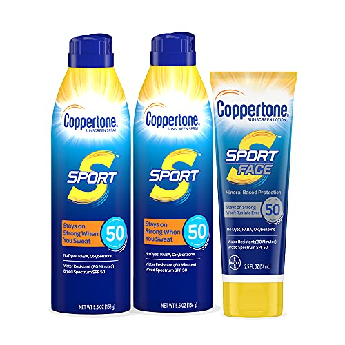 Coppertone SPORT SPF 50 Sunscreen Spray + SPORT Face SPF 50 Mineral Based Sunscreen Lotion Multipack (5.5 Ounce Spray, Pack of 2 + 2.5 Fluid Ounce Lotion)
