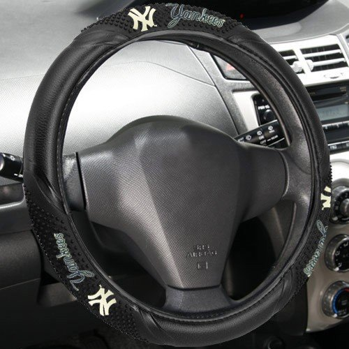 MLB New York Yankees Black Vinyl Massage Grip Steering Wheel Cover