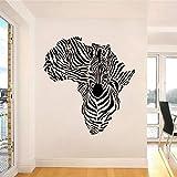 Geiqianjiumai Afrikanische Zebra Karte wandaufkleber Dekoration Vinyl wandaufkleber Aufkleber kreative Zebra Muster abnehmbare Tier Wand Wohnzimmer 87X93 cm
