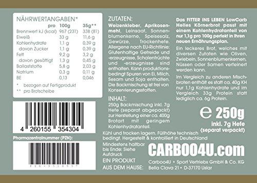 Nur 1,1g/100g Kohlenhydrate! 4er Pack Fitter ins Leben Paleo Low Carb Helles Körner Eiweißbrot lowcarb Brotbackmischung vegan Brot Eiweiß 33g/100g - 3
