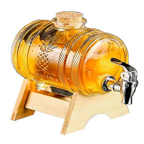 GUOGEGE 1000ml Dispensador de Bebidas de Cristal, Botella con Grifo Soporte y Tapa de Madera, Jarras de Vidrio para Bebida Caliente Fría, Transparente